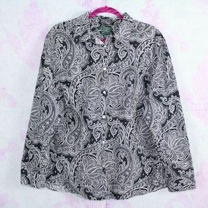 Ralph Lauren 3X Black White Paisley Non Iron Shirt